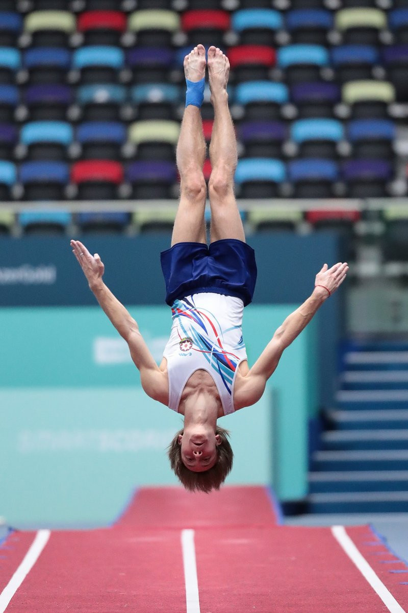 European champion Mikhail Malkin of Azerbaijan qualified in second in the tumbling event at the FIG Trampoline World Cup in Baku ©Azerbaijan Gym