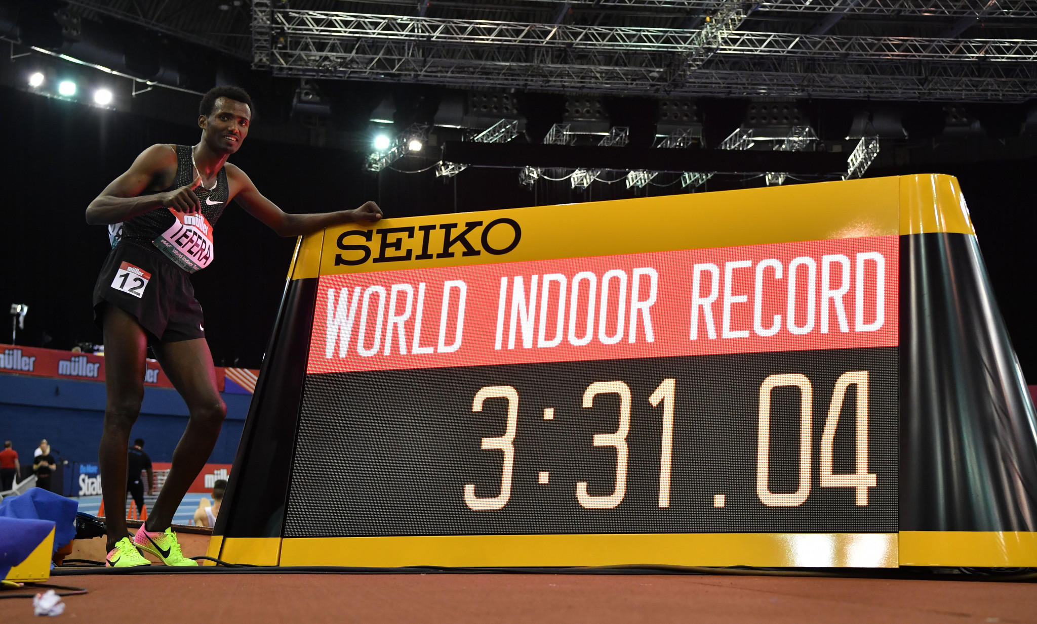 Samuel Tefera set a world indoor record in the men's 1500m at the World Indoor Tour in Birmingham ©Getty Images