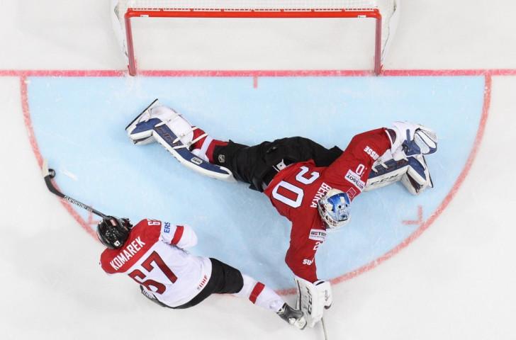 Konstantin Komarek scores the vital shootout goal as Austria edged Switzerland ©AFP/Getty Images