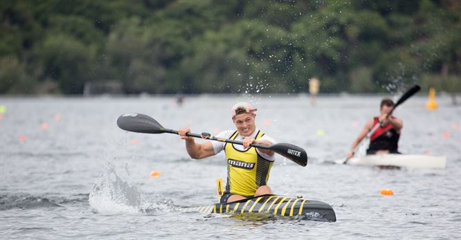 New Zealand's Kurt Imrie won his second gold of the Oceania Canoe Sprint Championships in the men's K1 500m ©Canoe Racing New Zealand