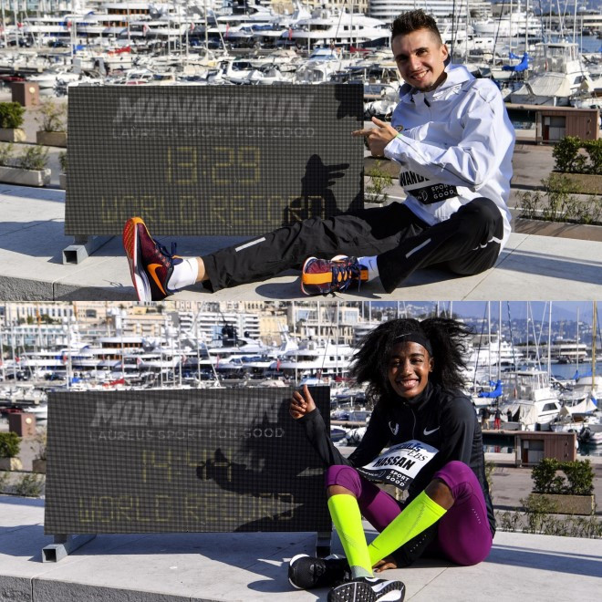 Switzerland's Julien Wanders and The Netherlands Julien Wanders celebrate setting world records for 5km in Monaco - even though others have run much fastest than them in the past ©Laureus