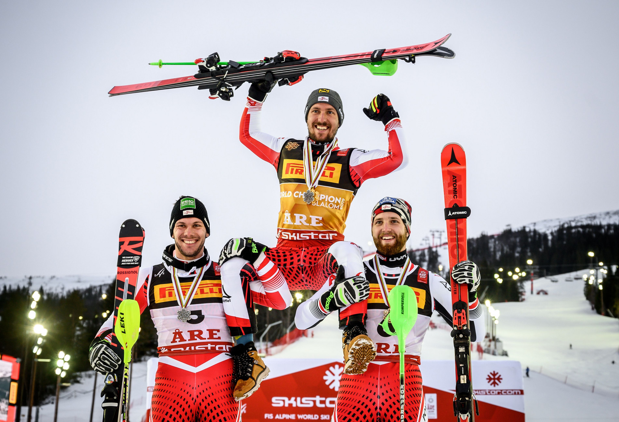 Marcel Hirscher topped an all Austrian podium in the men's slalom ©Getty Images