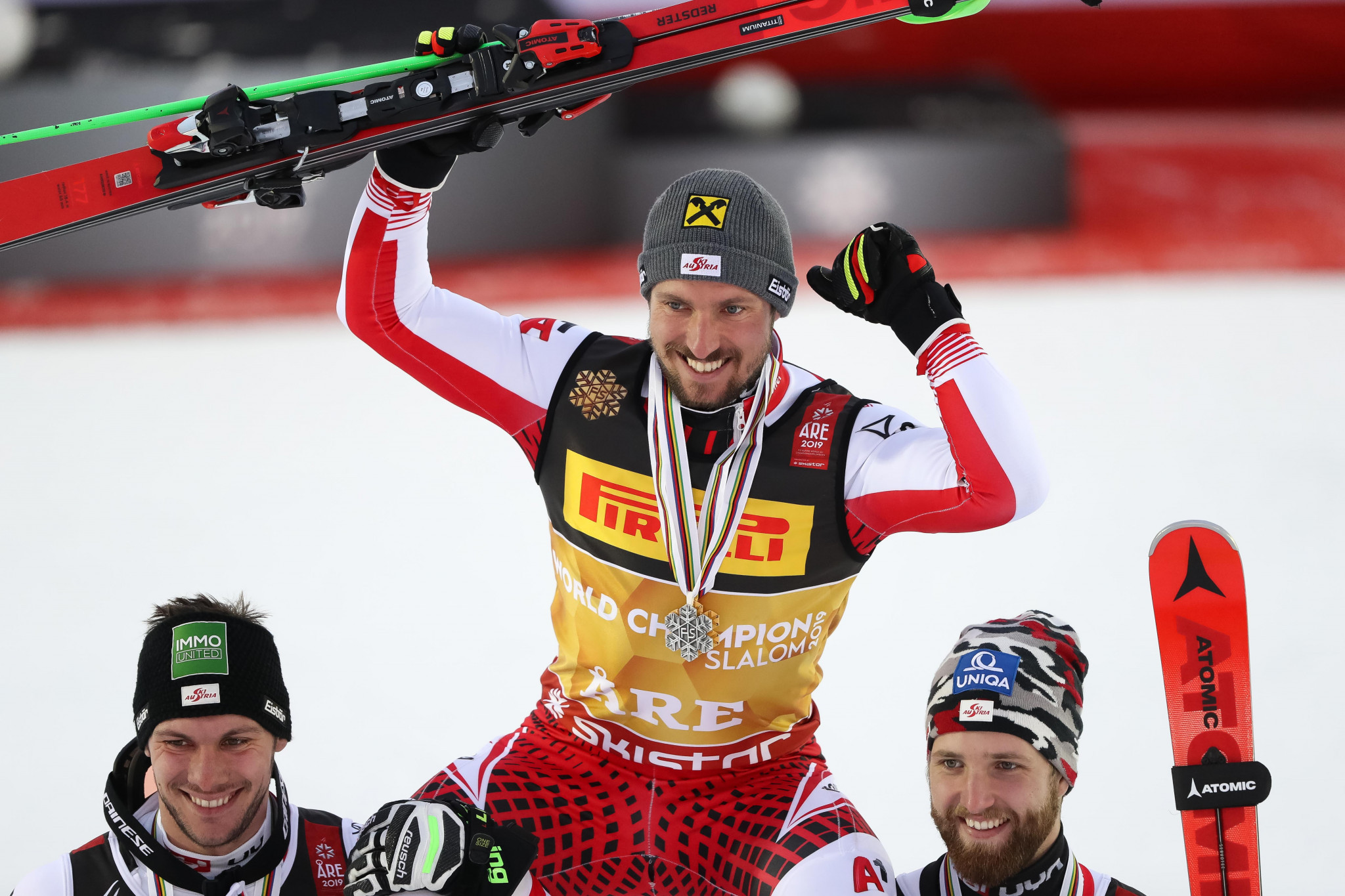Marcel Hirscher won the men's slalom world title for the third time in his career ©Getty Images