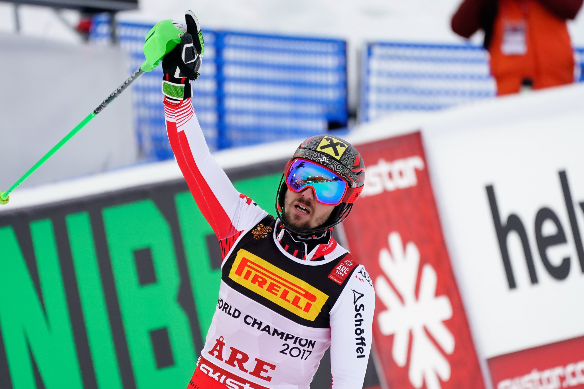 Defending champion Marcel Hirscher produced a superb opening run to take a commanding lead ©Getty Images