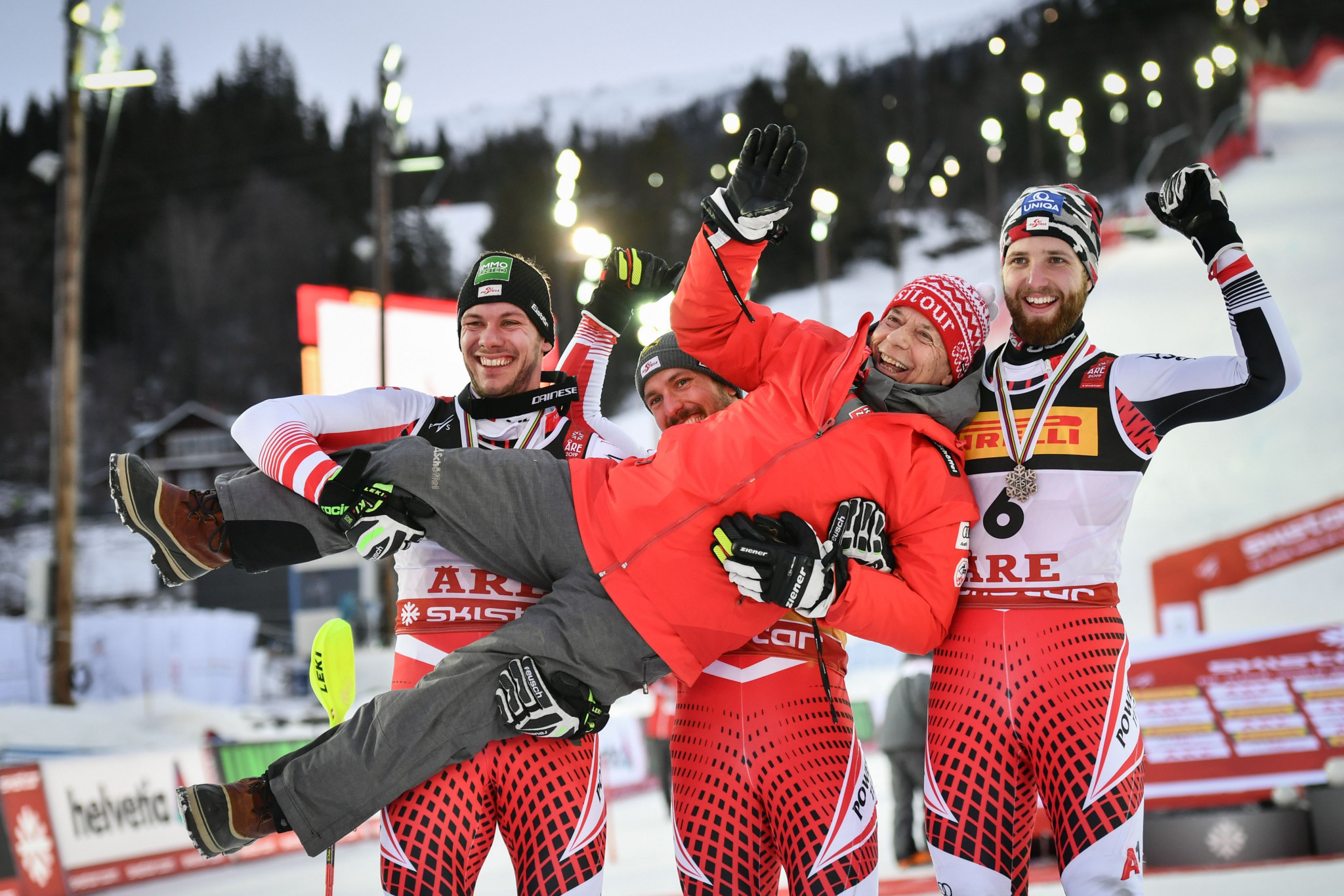 The Austrian team were left celebrating a successful final day following their podium sweep ©Getty Images