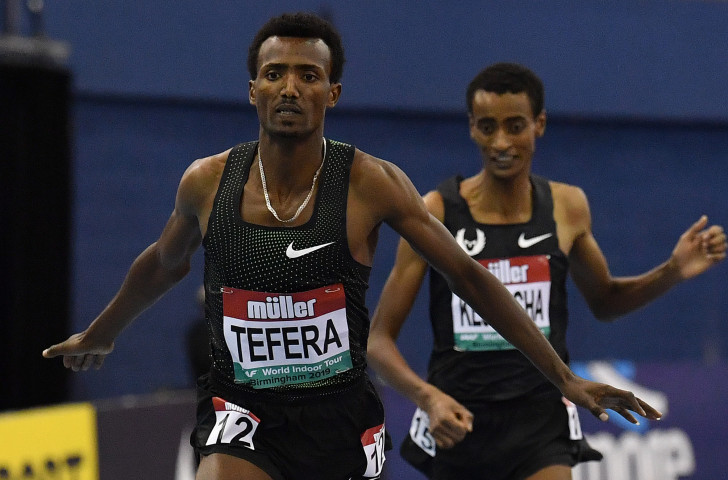 Ethiopia's Samuel Tefera breaks the world indoor 1500 metres record in Birmingham - without any undue fuss... ©Getty Images