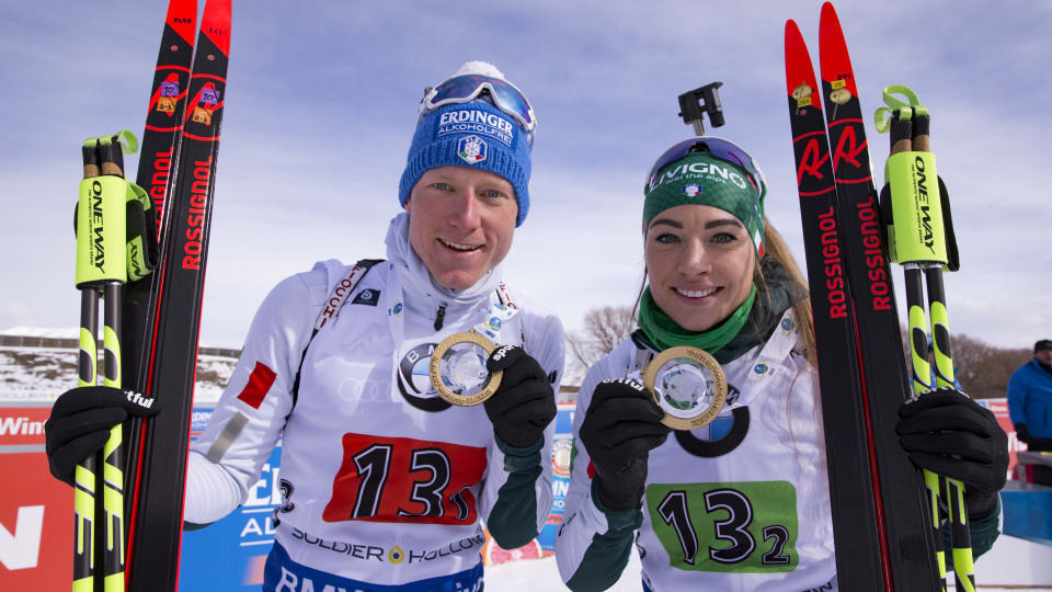 Italy's Lukas Hofer and Dorothea Wierer won the single mixed relay on the last day of action at the IBU World Cup in Solider Hollow ©IBU