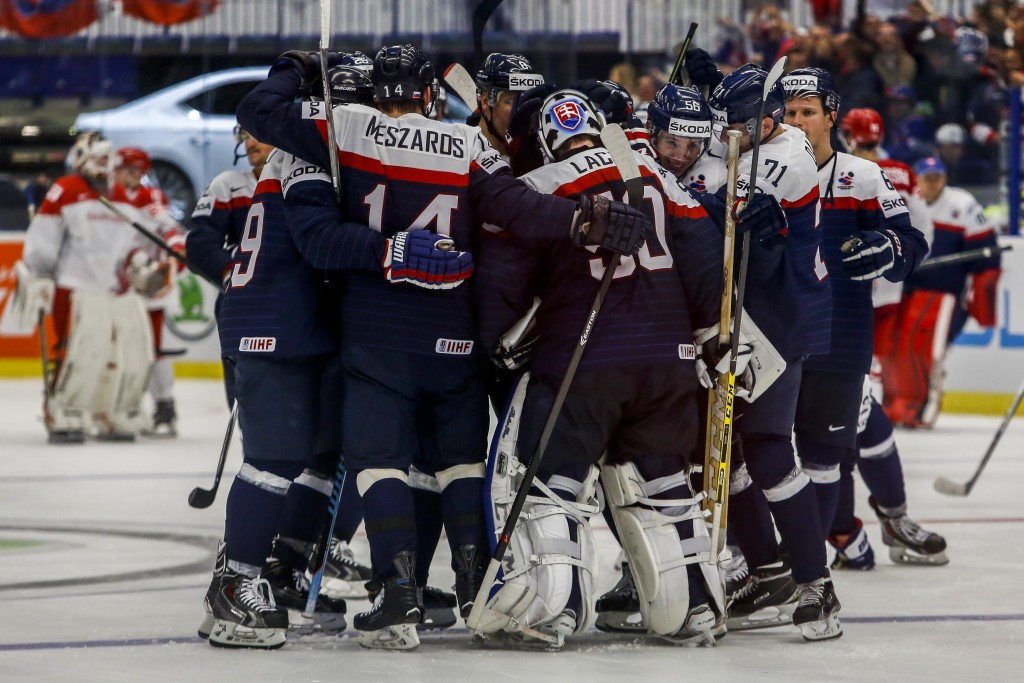 Slovakia celebrate after their narrow victory over Denmark ©Getty Images