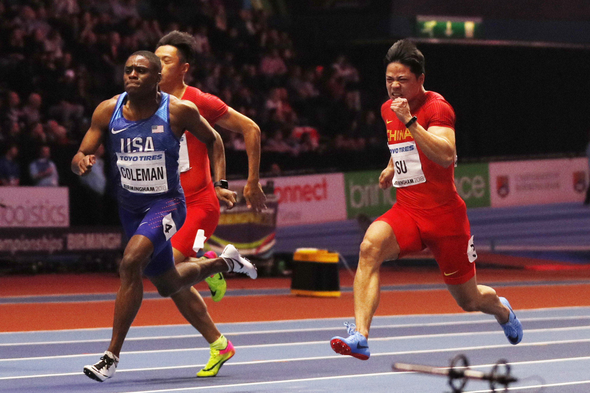 The IAAF study shows five of the six 60m medals at last year's World Indoor Championships in Birmingham, including American winner Christian Coleman, were won in the first 10 metres ©Getty Images