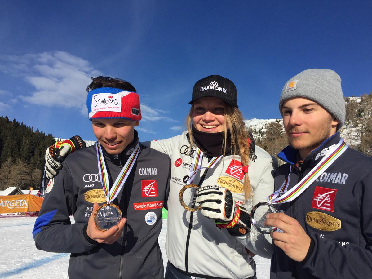 France won four medals, including two golds at the FIS Telemark Junior World Championships in Krvavec ©France Ski Federation/Twitter