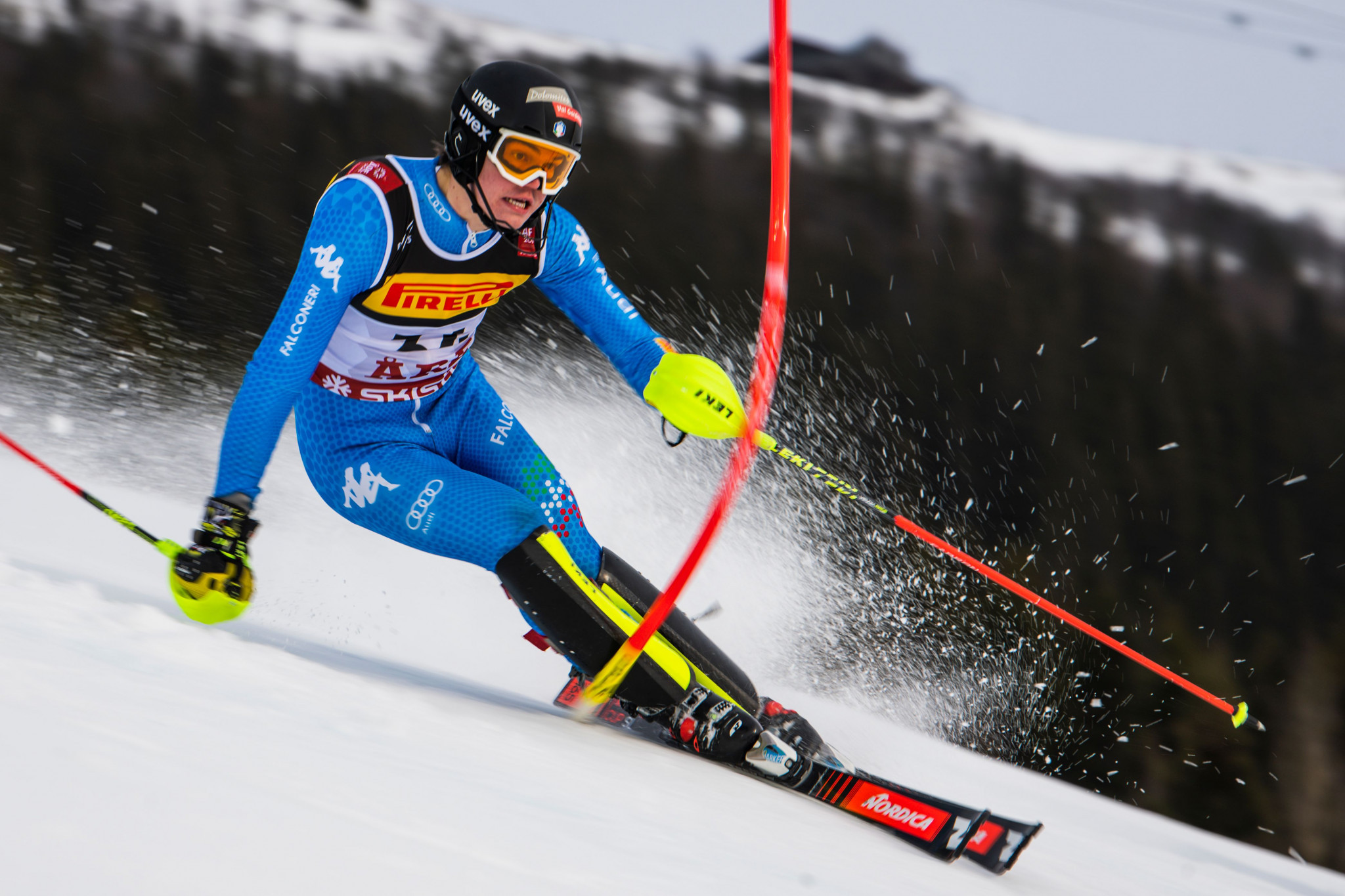 Alex Vinatzer will lead Italy's hopes in the men's slalom ©Getty Images