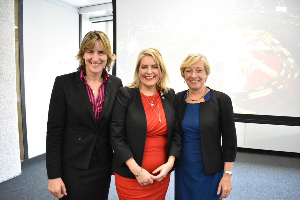 UK Sports Minister Mims Davies, centre, has high hopes for the 2022 Commonwealth Games in Birmingham ©Twitter