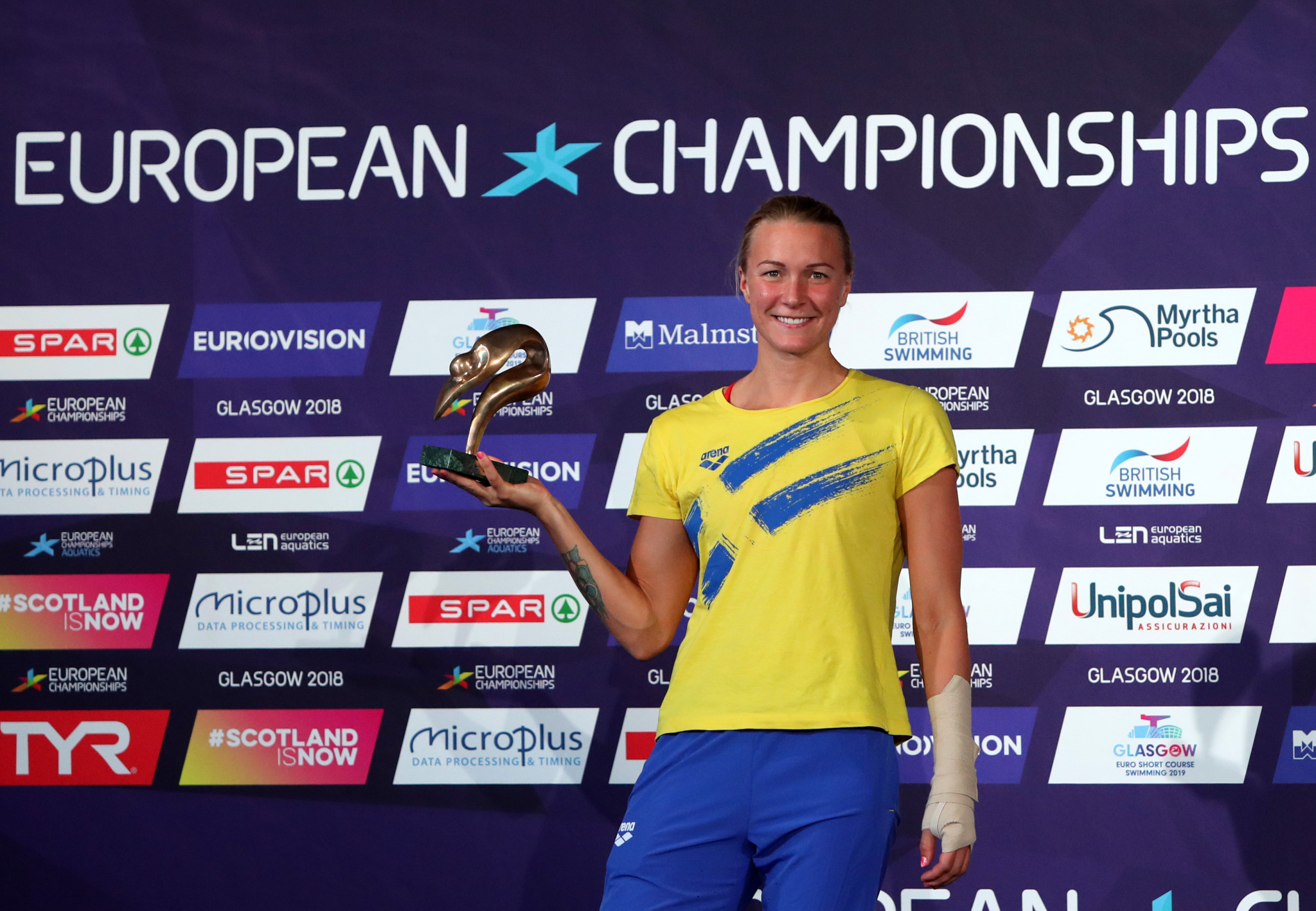 Sweden's Sarah Sjöström gained the women's swimming LEN award after winning four gold medals at the 2018 European Championships in Glasgow ©Getty Images