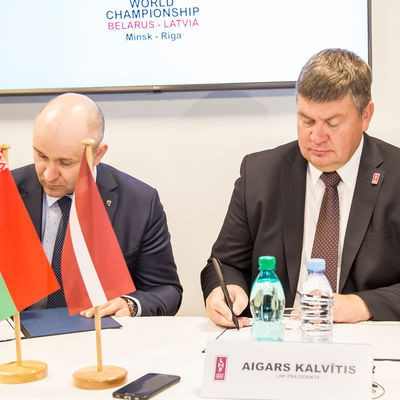 Belarus and Latvia sign agreement to organise 2021 World Ice Hockey Championships together