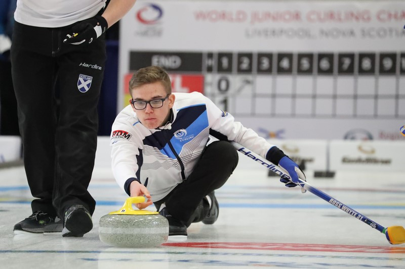 Scotland maintained their unbeaten start to the men's tournament at the World Junior Curling Championships in Liverpool ©WCF