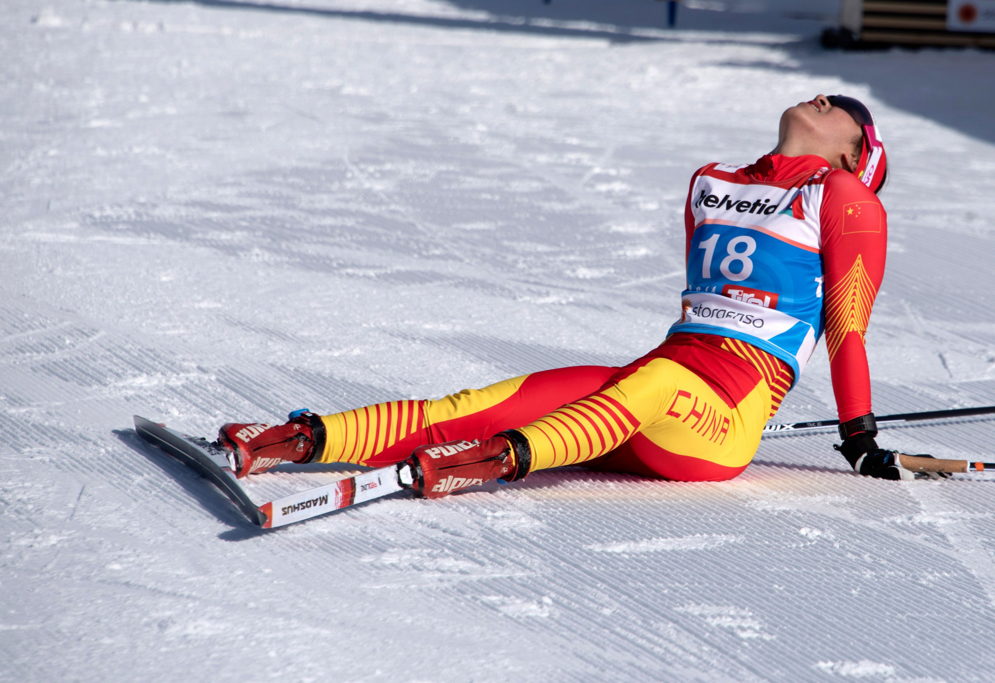 Afterwards in the finish area, she appeared exhausted ©Getty Images