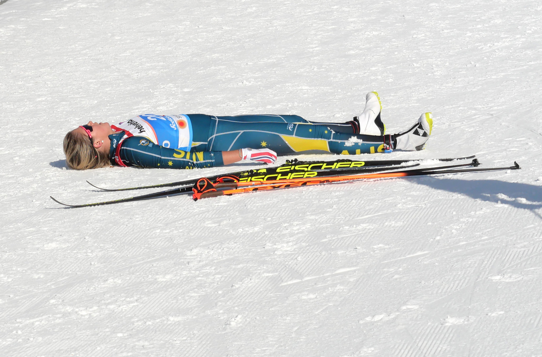 Austria's Katerina Paul who finished third, was another to need a rest in the finish area ©Getty Images