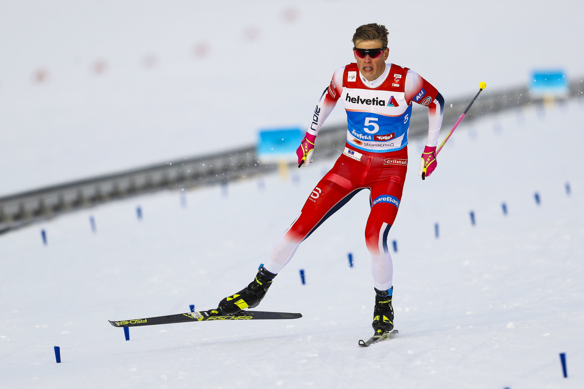 Norway gained their second gold when Johannes Hoesflot Klæbo continued his incredible form to win the men's race ©Getty Images