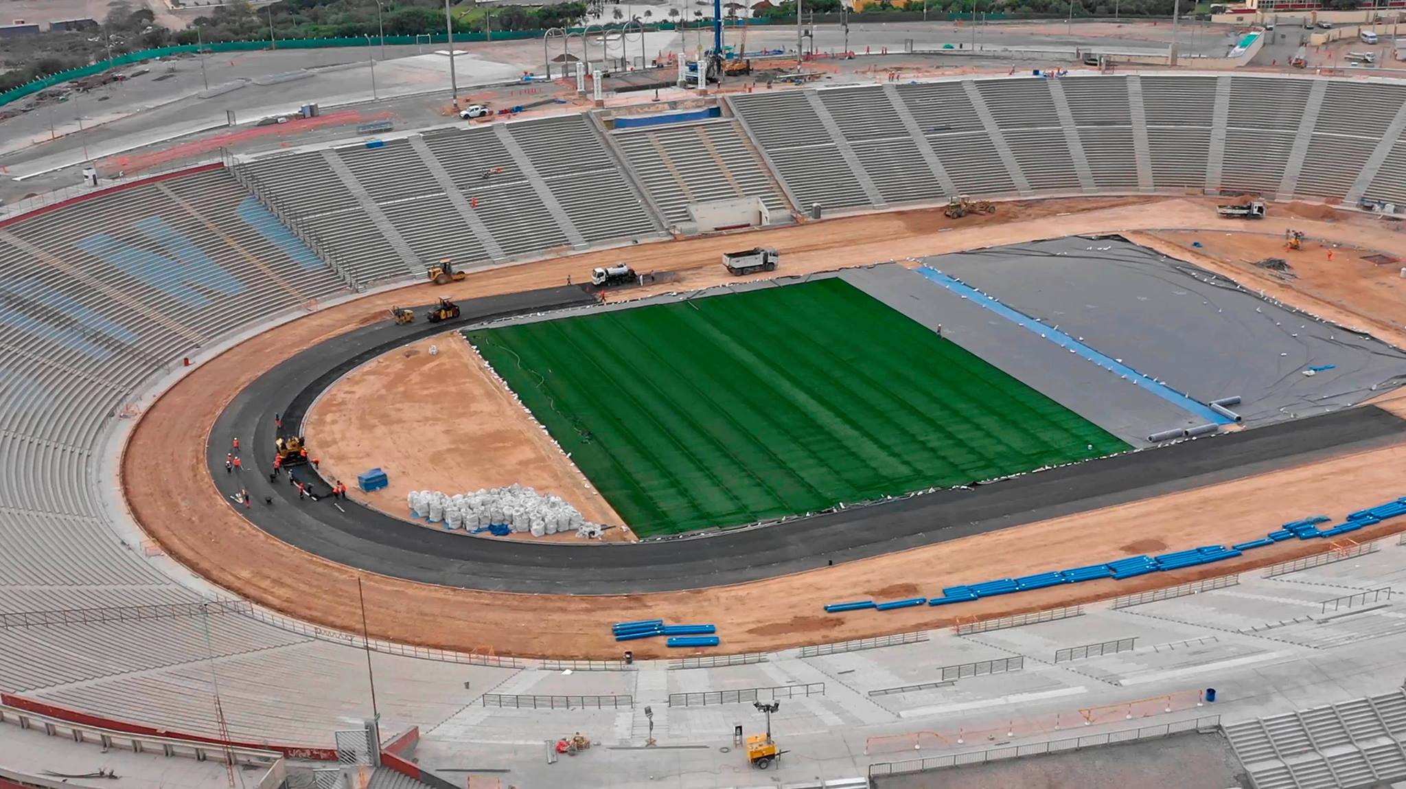 Several venues including the main stadium for the Pan American and Parapan America Games in remain under construction, though they are due to be completed next month ©Lima 2019