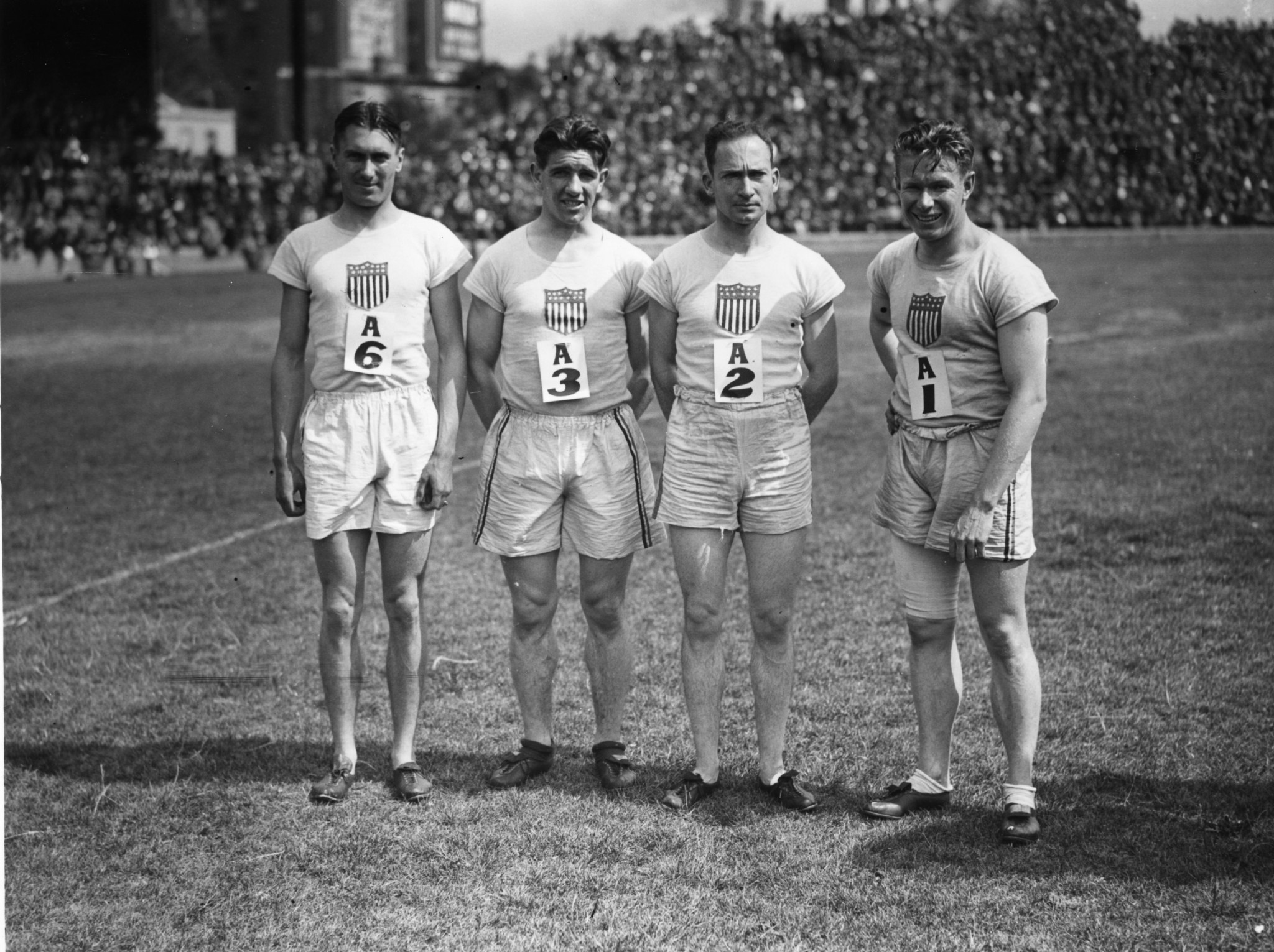 Charles Paddock, second left, caused controversy with his student appearance ©Getty Images