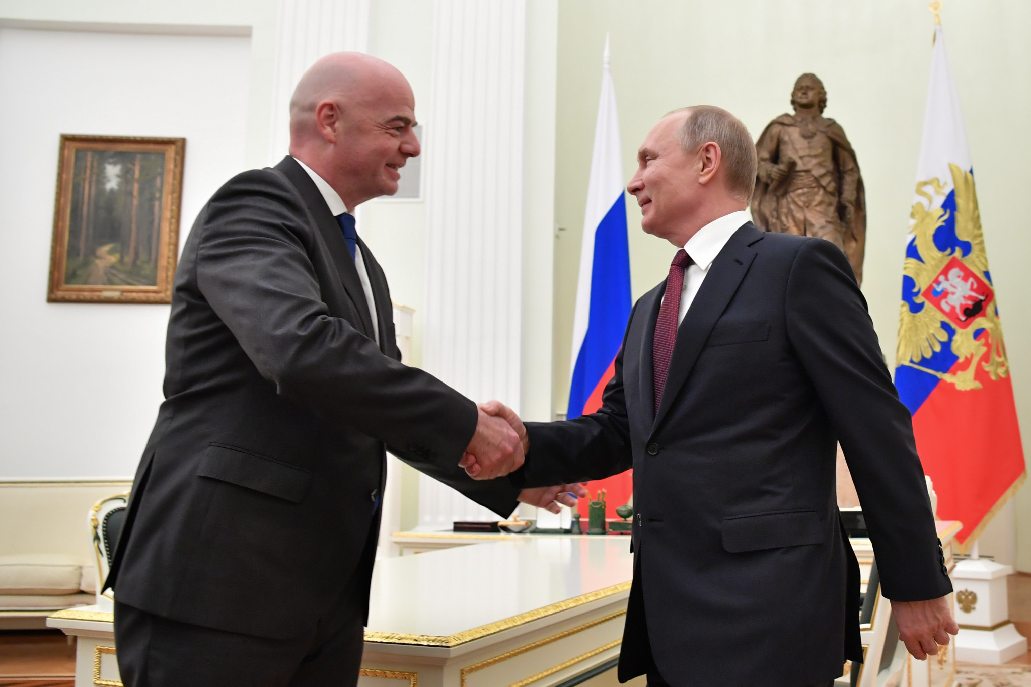 Putin calls on Infantino to help ensure effective legacy from Russia hosting 2018 FIFA World Cup