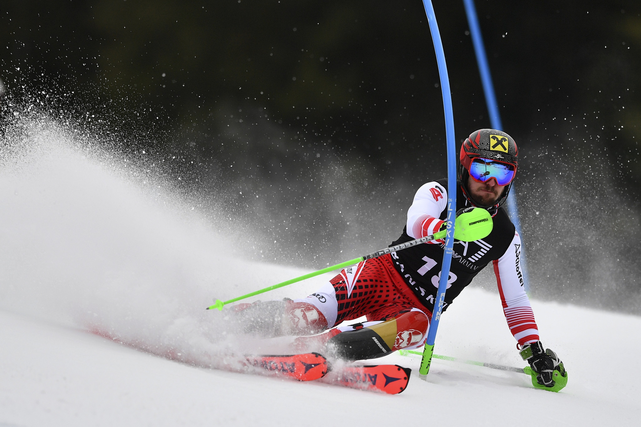 Austria's Marcel Hirscher finished in second place ©Getty Images