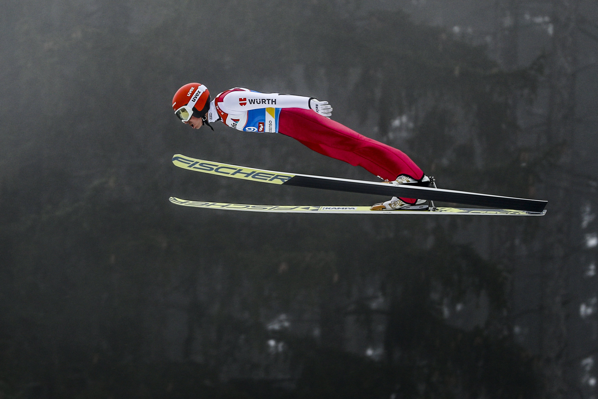 Frenzel achieved the highest score in the ski jumping to give him an advantage going into the cross-country in the Nordic combined individual 10km final ©Getty Images