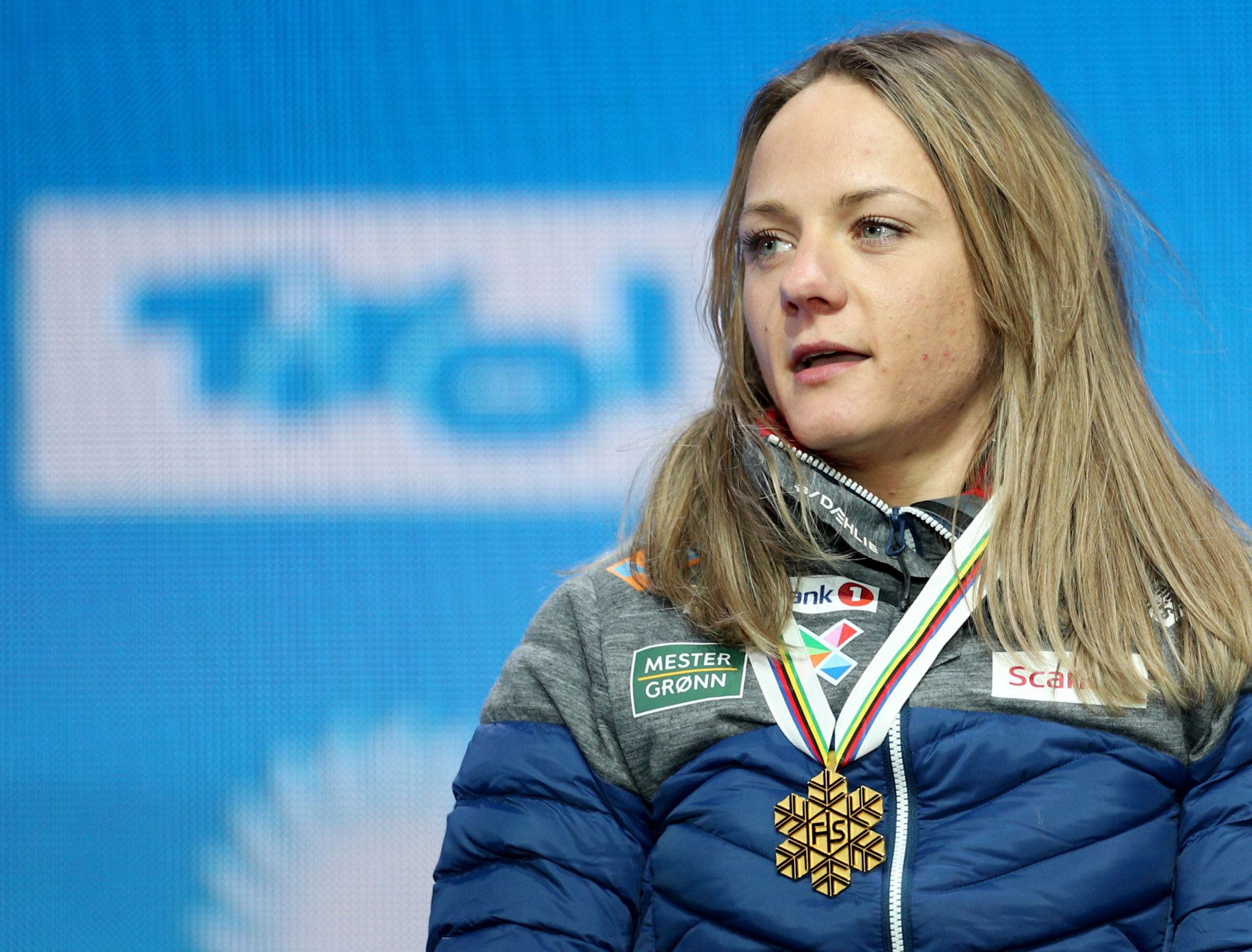His compatriot Maiken Caspersen Falla received her medal for winning the women's event ©Getty Images