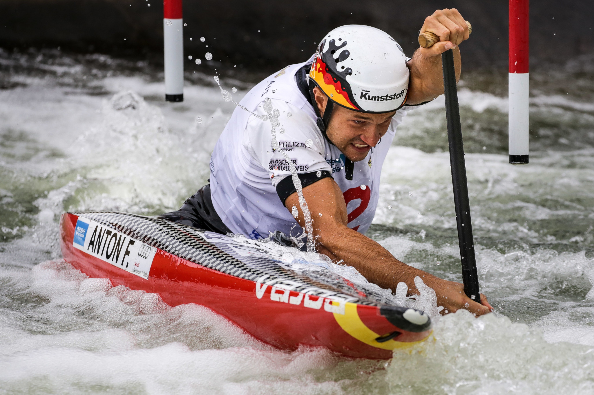 Germany's world champion Franz Anton triumphed in the men's C1 event ©Paddle Australia