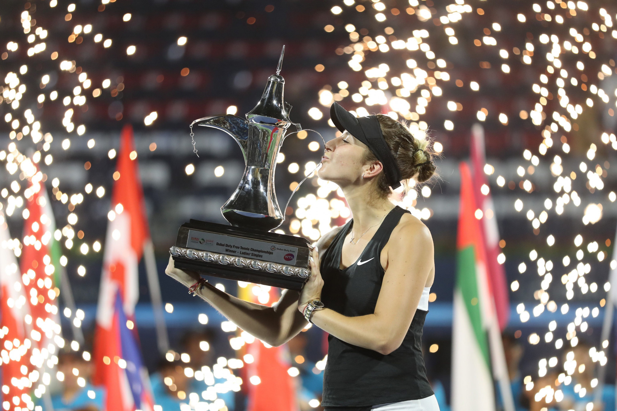 Belinda Bencic ousted Petra Kvitová in three sets to clinch victory in Dubai ©Getty Images