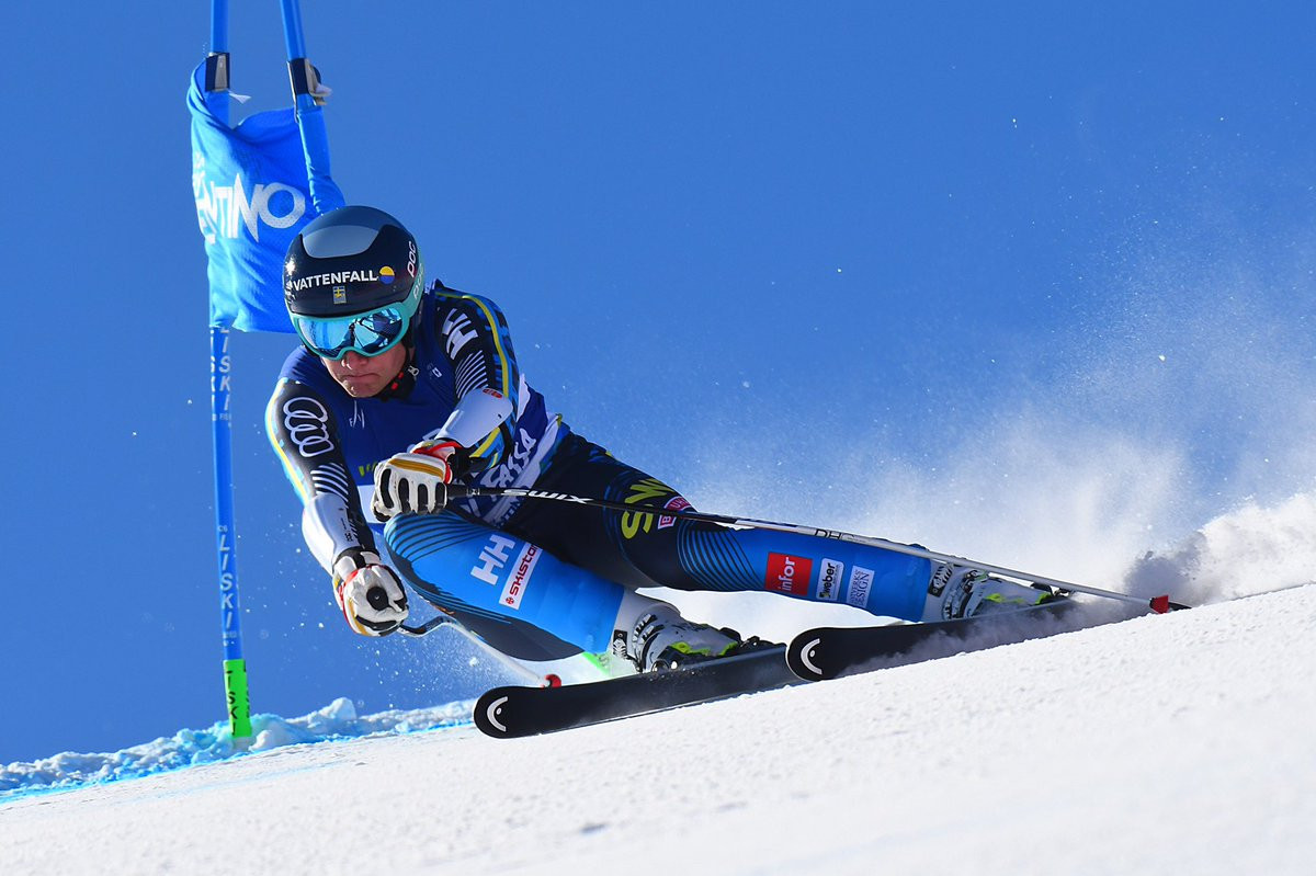 Sweden's Tobias Hedström stormed back from 19th place after the super-G to claim the gold medal ©Twitter