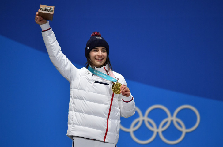 France's Perrine Laffont, pictured with her gold medal after the women's freestyle skiing moguls at the Pyeongchang 2018 Games, is among a number of Olympic medallists due to take part in the latest FISU Winter Universiade in Siberia ©Getty Images