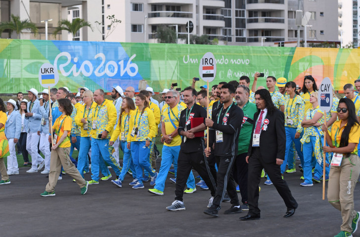 Ukrainian athletes, pictured during a welcome ceremony at Rio 2016, are not taking part in the Winter Universiade that starts in Siberia on Saturday, but will compete at this year's Summer Universiade in Naples ©Getty Images