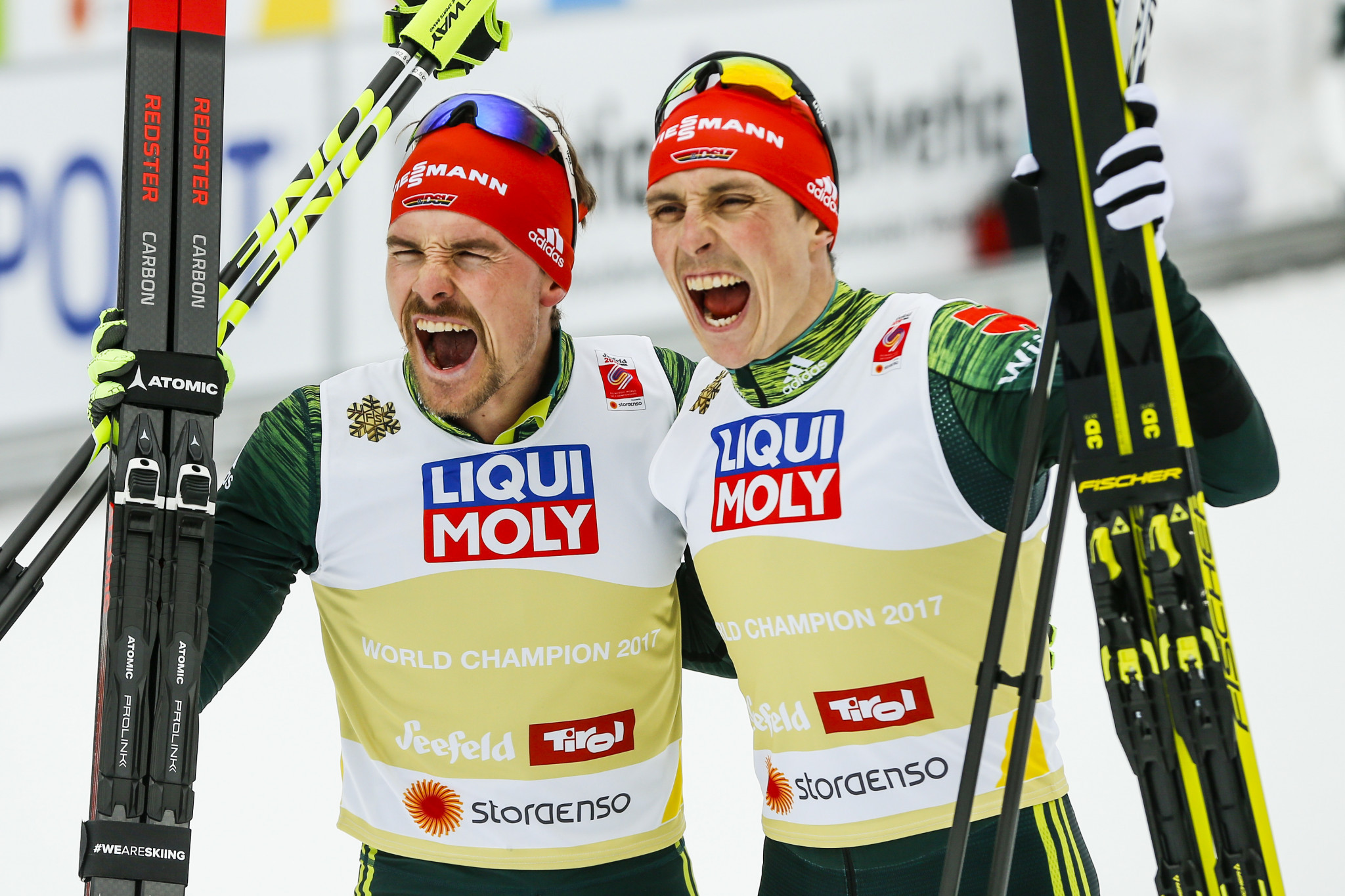 Germany's Eric Frenzel and Fabian Rießle won the men's Nordic combined team event ©Getty Images