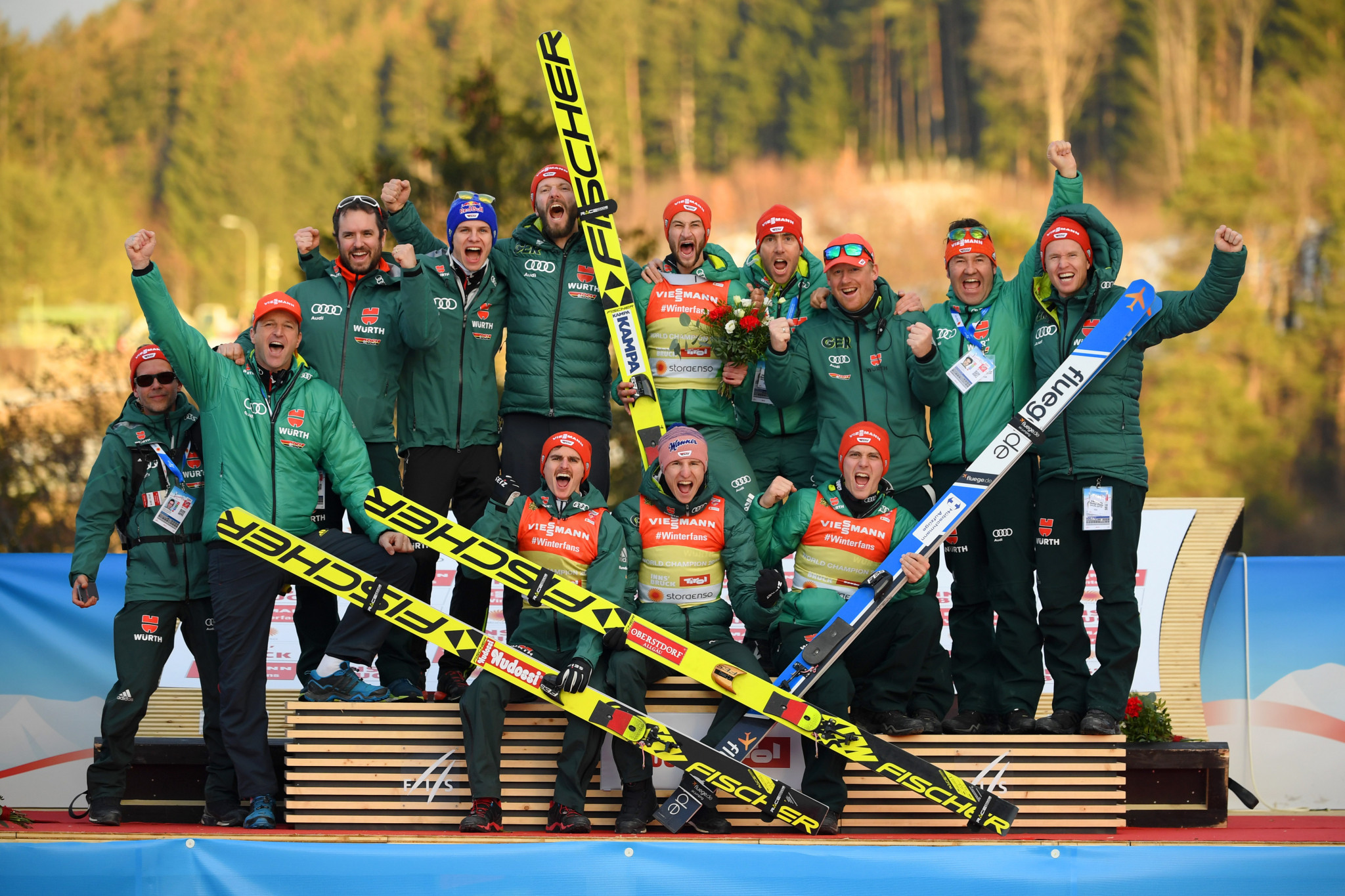 Germany emerged as the winners of the team ski jumping event ©Getty Images