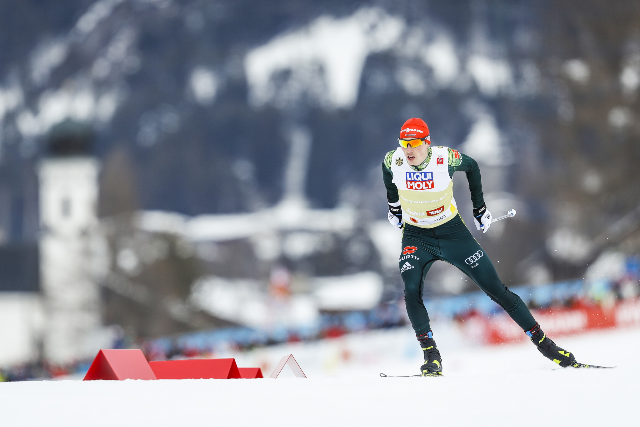 Eric Frenzel looked to add to the Nordic combined large hill title he earned two days ago ©Getty Images