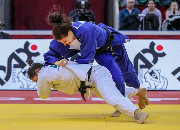 Germany's Anna Maria Wagner suffered defeat to Brazil's Mayra Aguiar in the women's 78kg final ©IJF