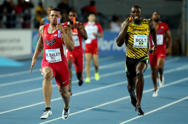 Usain Bolt has too much to do to make up the lead of anchor leg runner Ryan Bailey, who is en route to earning the United States victory in the 4x100m final at the IAAF World Relays in Nassau