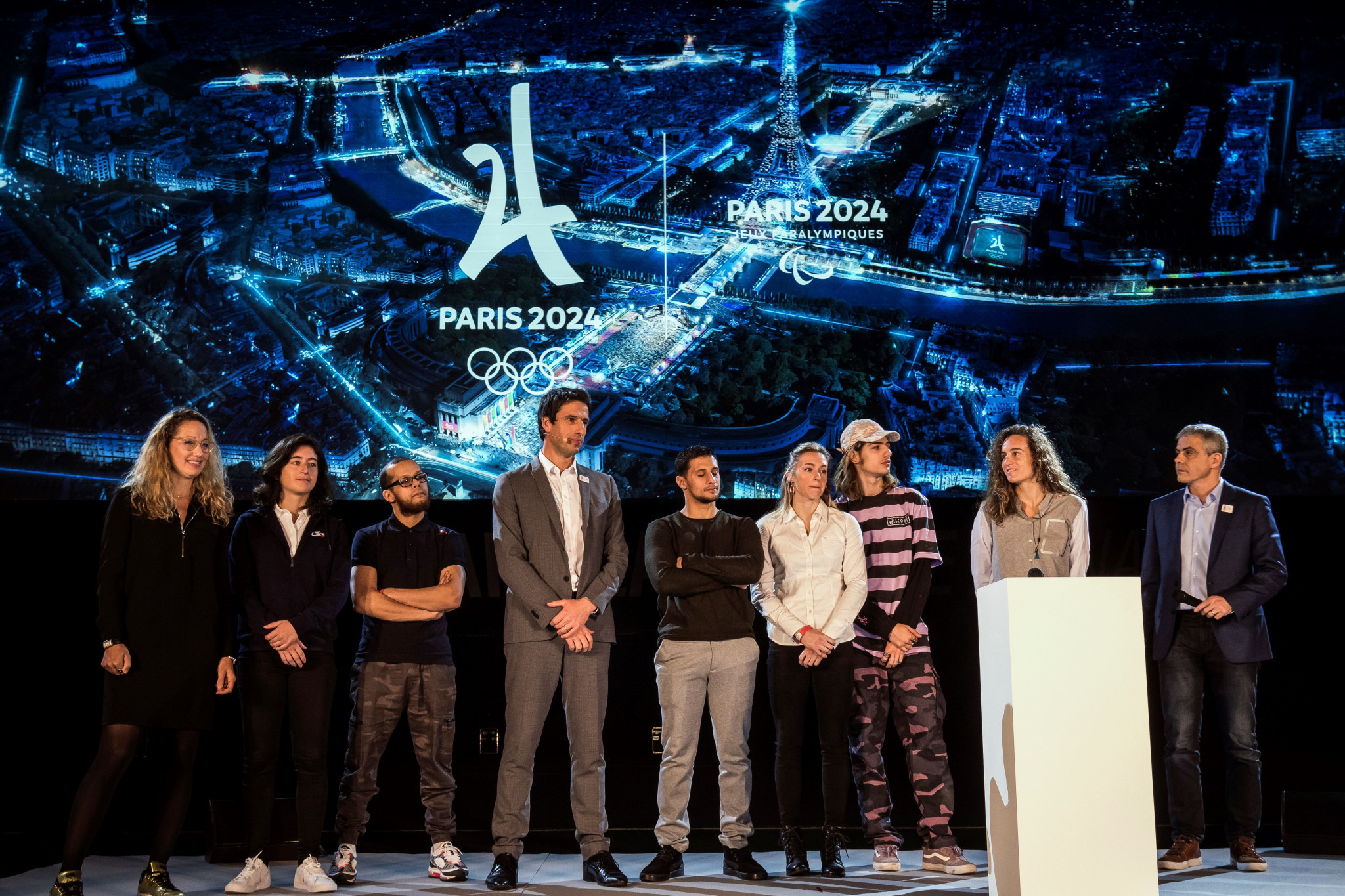 Paris 2024 President Tony Estanguet, fourth left, claimed organisers were hoping to increase engagement from fans with the Olympic Games to help make them more popular in the host city ©Getty Images