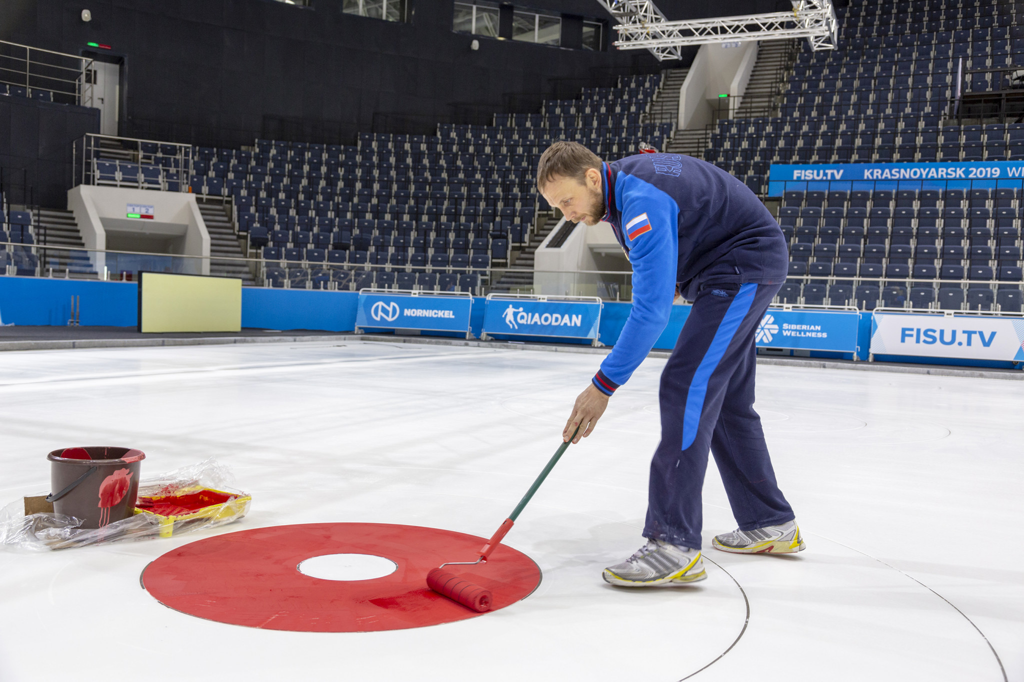The final touches have been applied to the curling surface for the event ©Krasnoyarsk 2019