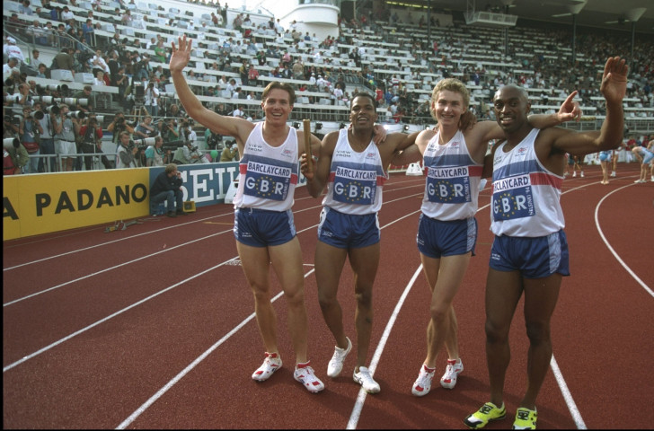 Eight years after his shoeless drama at the 1986 European Athletics Championships, Brian Whittle, second right, celebrates another European 4x400m gold for Britain in Helsinki ©Getty Images
