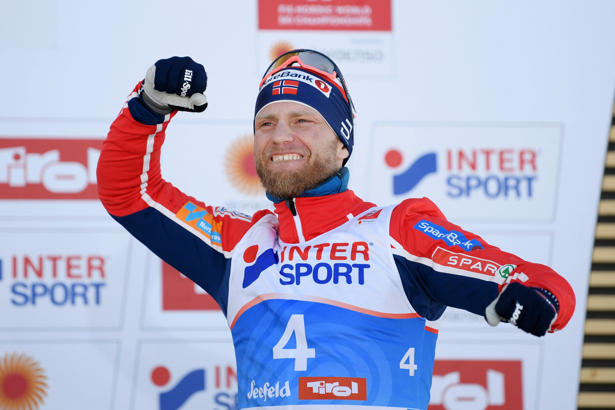 Martin Johnsrud Sundby won the men's 15km cross country race hours after an Austrian police raid arrested nine people ©Getty Images