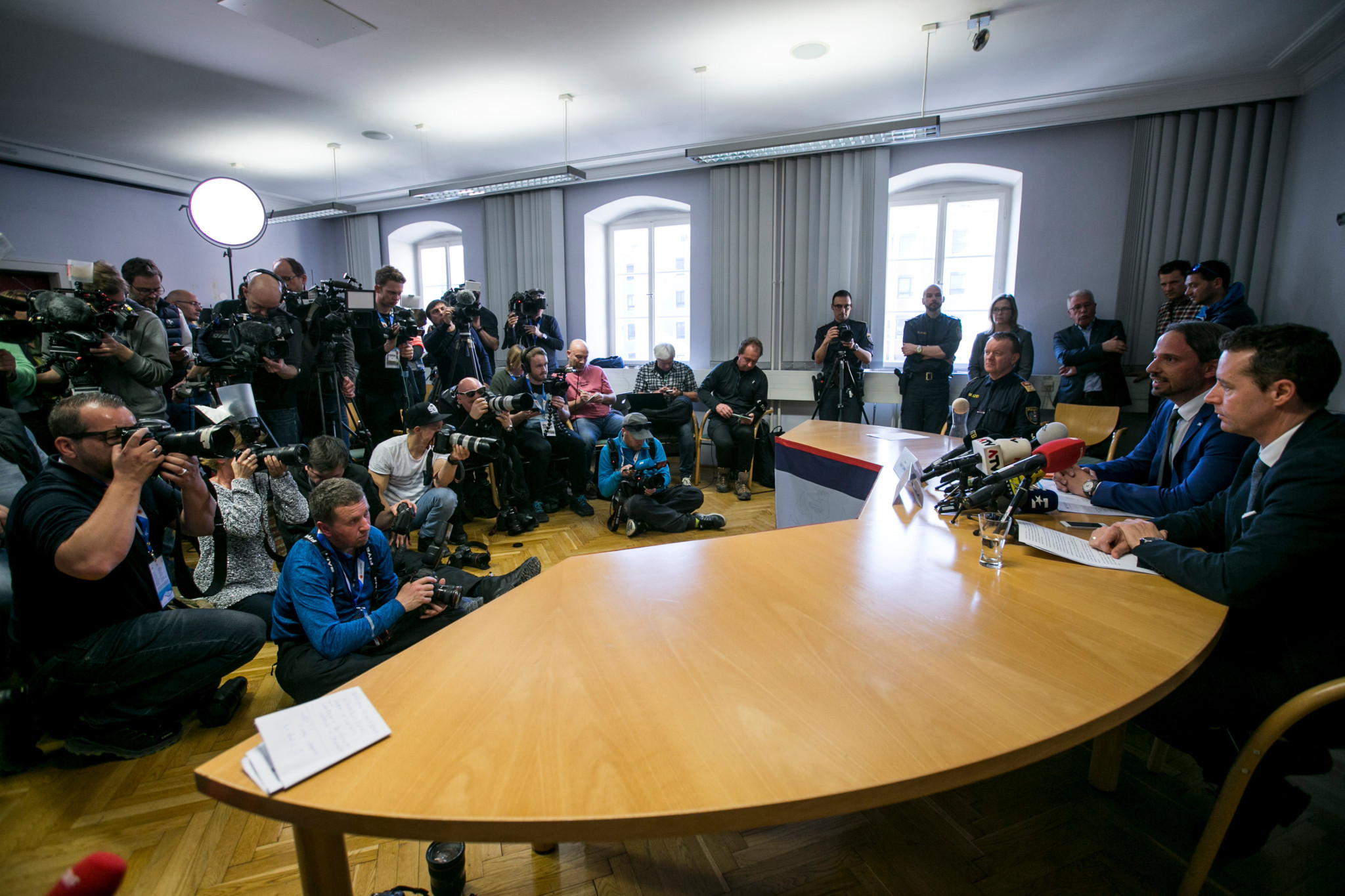 They later held a press conference saying nine people, including two Austrian athletes, had been arrested ©Getty Images