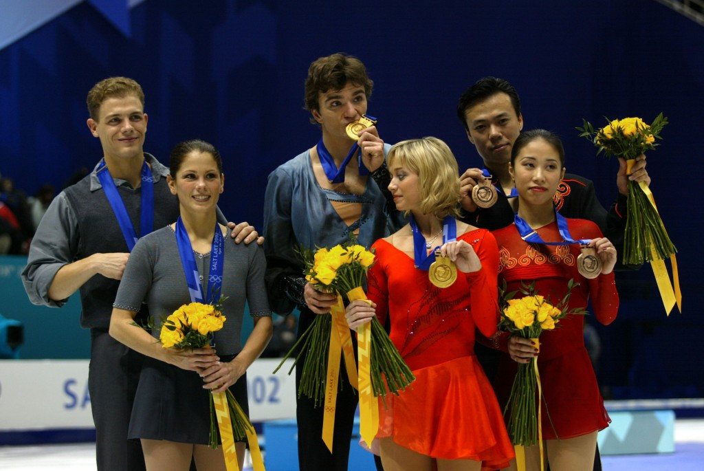 Russian pair Elena Berezhnaya and Anton Sikharulidze were controversially awarded a gold medal in the Olympic pairs event at Salt Lake City 2002 following a judging scandal