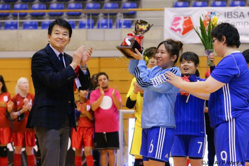 Japan won the Normalisation Cup against an IBSA world select team in Saitama ©JBFA