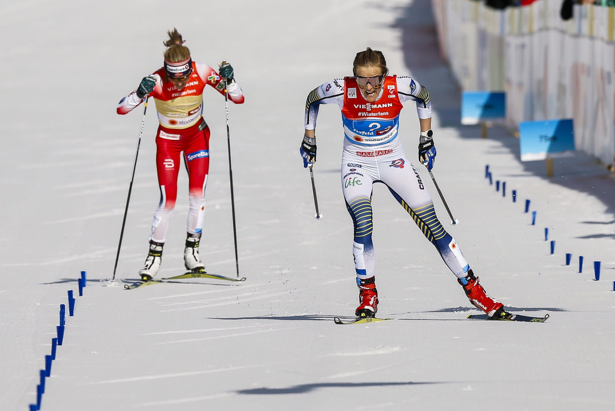 Stina Nilsson outfought Therese Johaug to win cross-country relay gold for Sweden ©Getty Images