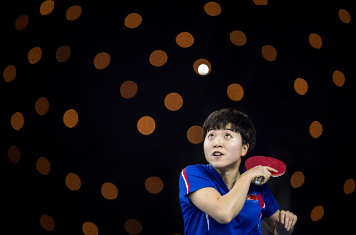 Song I Kim of North Korea in action at last year's ITTF Team World Cup at London's Copper Box Arena - an event which marked 12BET's debut as an ITTF betting partner ©Getty Images