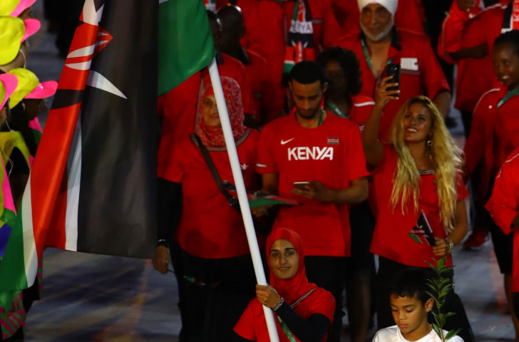 Flag bearer Shehzana Anwar of Kenya leads her team during the Opening Ceremony of Rio 2016, where serious financial malpractice by Kenyan officials was uncovered ©Getty Images