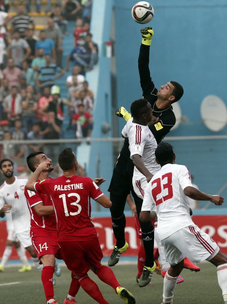 Palestine faced the United Arab Emirates at the Faisal al-Husseini Stadium in Al Ram last month