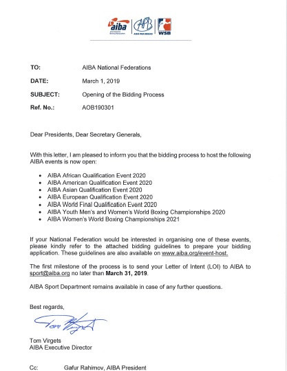 The letter was sent to member federations by AIBA executive director Tom Virgets ©ITG